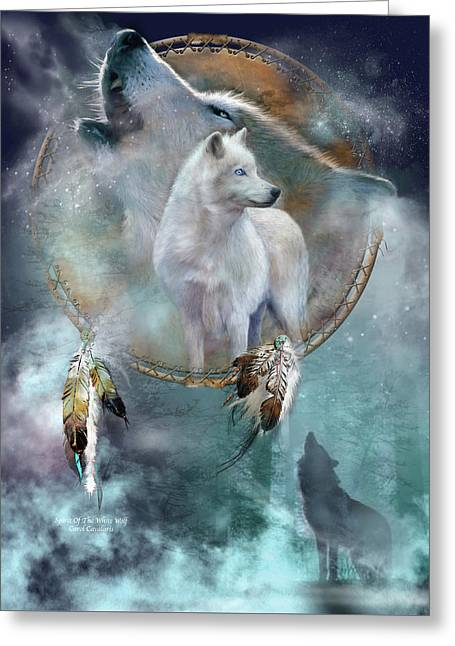 Art Of Carol Cavalaris Greeting Cards - Dream Catcher - Spirit Of The White Wolf Greeting Card by Carol Cavalaris