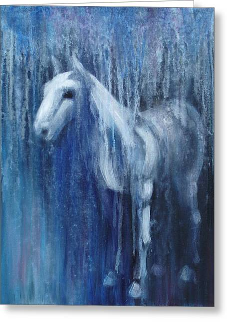 Blue Horse Greeting Cards - Dream Horse Greeting Card by Katherine Howard