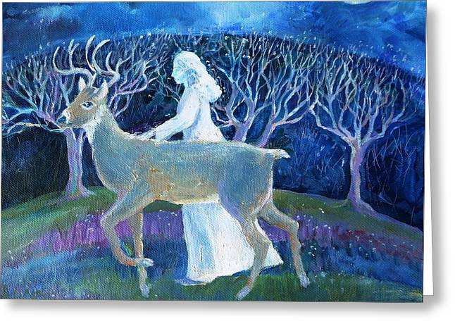 Ghostly Greeting Cards - Dream Journey Greeting Card by Trudi Doyle