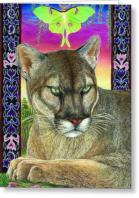 Luna Drawings Greeting Cards - Dream of the Panther Greeting Card by Tim McCarthy