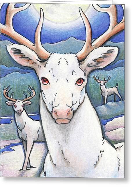 Winter Night Drawings Greeting Cards - Dream of the White Stag Greeting Card by Amy S Turner