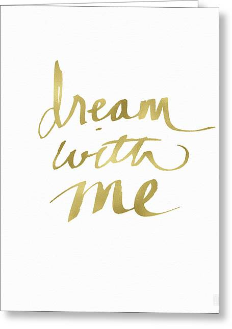 Dream With Me Gold- Art By Linda Woods Greeting Card by Linda Woods