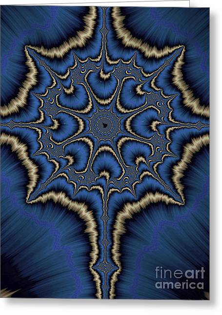 Blue Cross Greeting Cards - Dreamcatcher in Blue and Gold Greeting Card by John Edwards