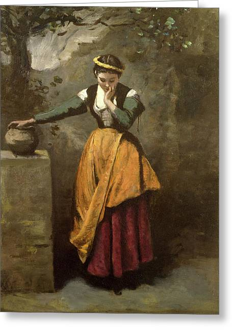 Concentrate Greeting Cards - Dreamer at the Fountain Greeting Card by Jean Baptiste Camille Corot