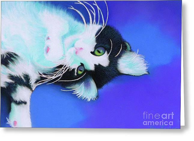 Feline Pastels Greeting Cards - Dreamer Greeting Card by Tracy L Teeter