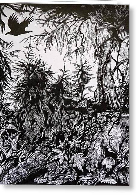 Moss Drawings Greeting Cards - Dreaming Alaska.Part one Greeting Card by Anna  Duyunova