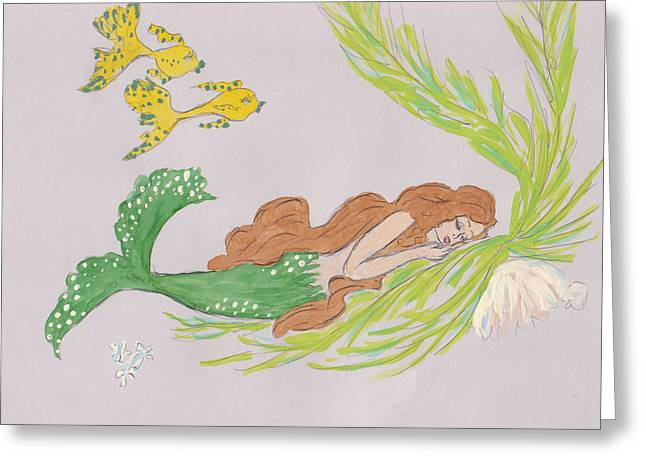 Sleeping Mermaid Greeting Cards - Dreaming Mermaid Greeting Card by Rosalie Scanlon