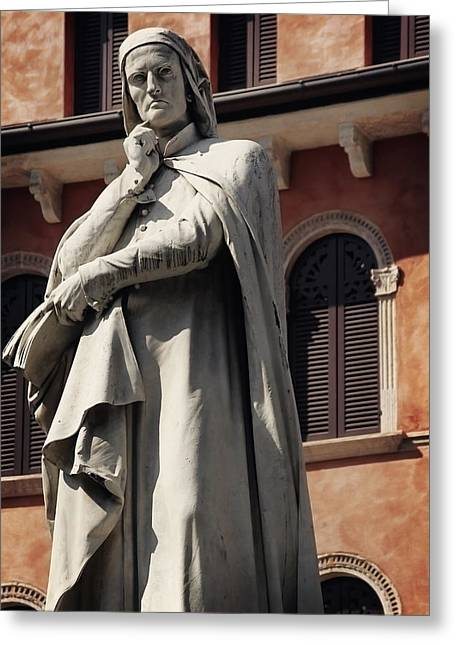 Historic Statue Greeting Cards - Dreaming of Dante Verona Italy Greeting Card by Carol Japp