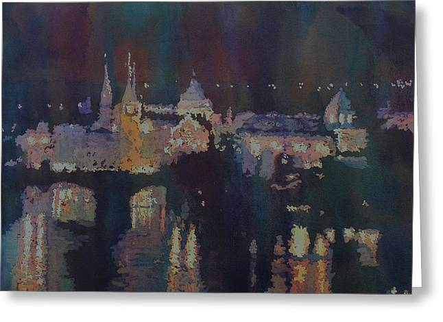 Dreaming Of Prague Greeting Card by Jenny Armitage