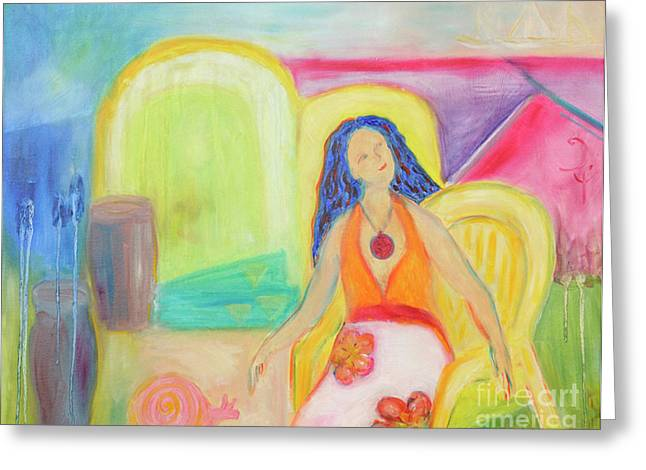 Sailboat Images Paintings Greeting Cards - Dreaming of sailboats Greeting Card by Barbara Anna Knauf