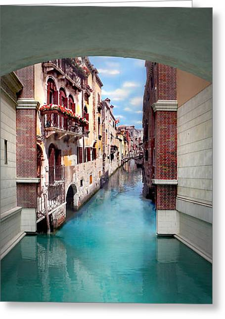 Dreaming Of Venice Vertical Panorama Greeting Card by Az Jackson