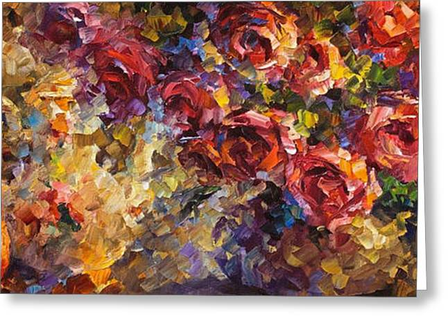 Popular Art Greeting Cards - Dreaming Roses - PALETTE KNIFE Oil Painting On Canvas By Leonid Afremov Greeting Card by Leonid Afremov