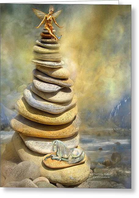 Stone Mixed Media Greeting Cards - Dreaming Stones Greeting Card by Carol Cavalaris