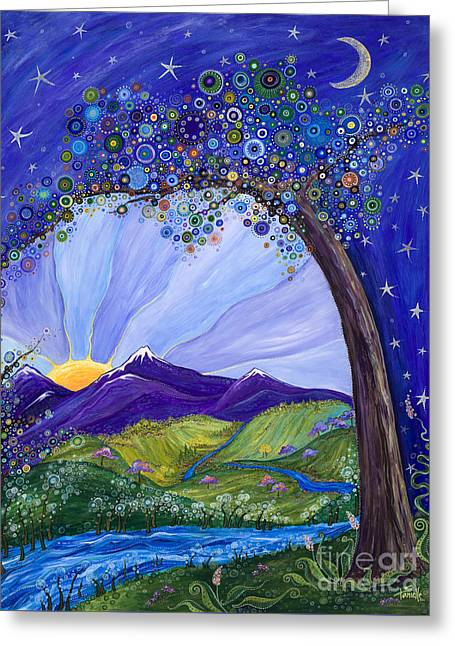 Moon River Greeting Cards - Dreaming Tree Greeting Card by Tanielle Childers