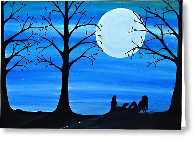 People Paintings Greeting Cards - Dreaming under the moonlight Greeting Card by Rachel  Olynuk