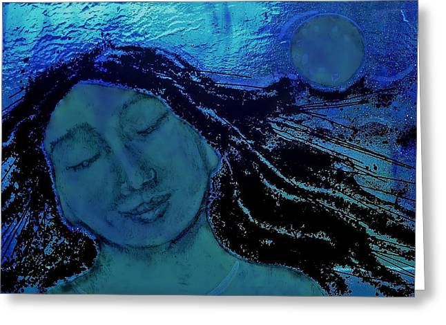 With Glass Art Greeting Cards - Dreaming with the Moon Greeting Card by Deborah Johnson