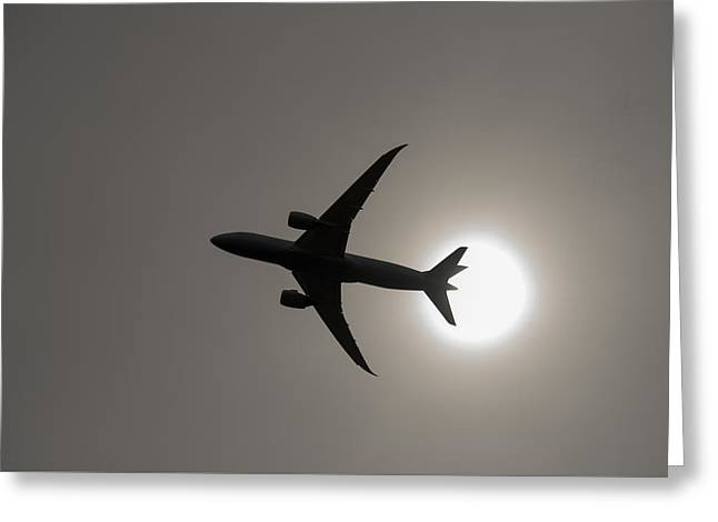 Haze Greeting Cards - Dreamliner with Sun Greeting Card by SH Suddes