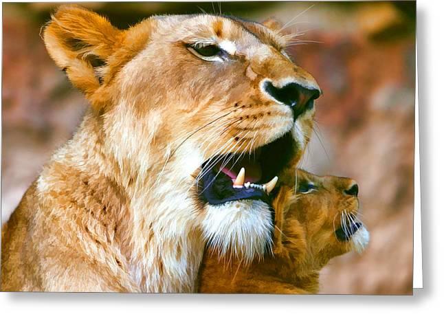 Lions Greeting Cards - Dreams II Greeting Card by Paul Garriott