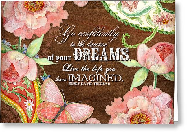 Dreams - Thoreau Greeting Card by Audrey Jeanne Roberts