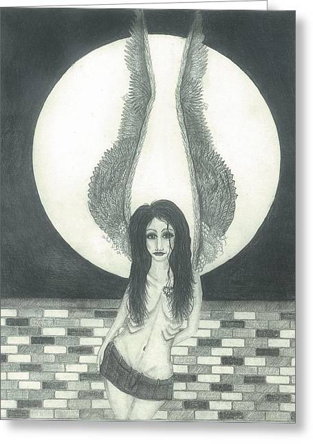 Night Angel Greeting Cards - Dreams to Remember Greeting Card by Wendy Wunstell
