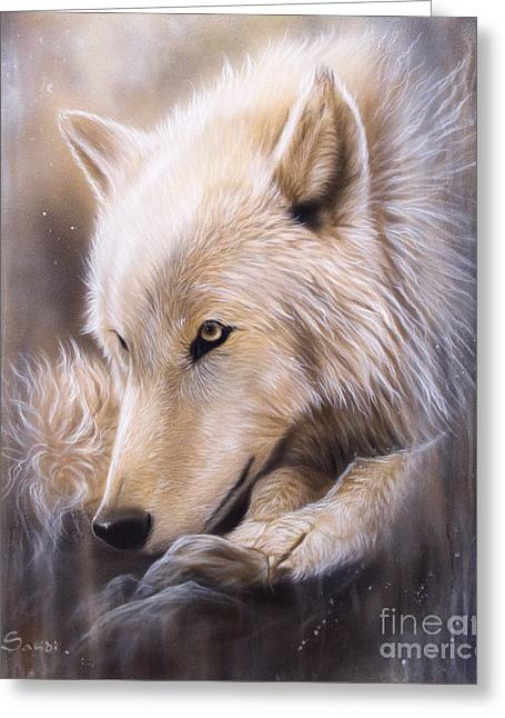 Arctic Wolf Greeting Cards - Dreamscape - Wolf Greeting Card by Sandi Baker
