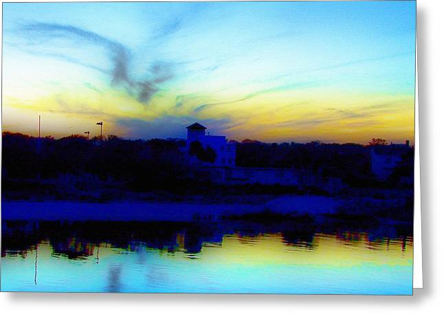 Dreamscape Blue Water Sunset  Greeting Card by Nada Frazier