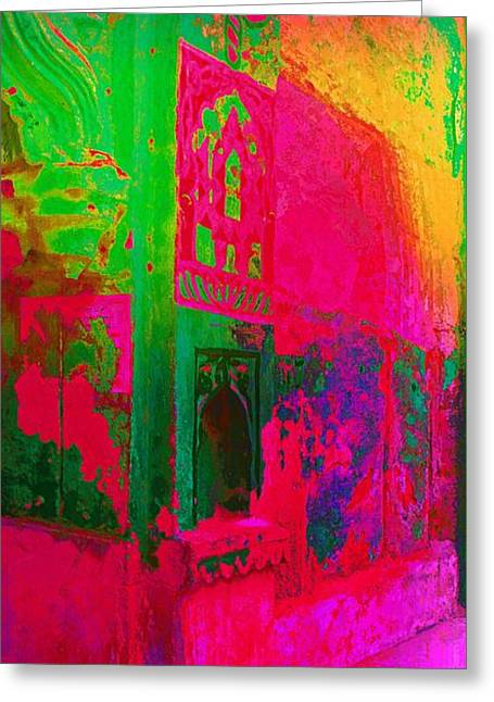 Royal Art Greeting Cards - Dreamy Arches Pink Abstract Mural Sun Fort Rajasthan India 2a Greeting Card by Sue Jacobi