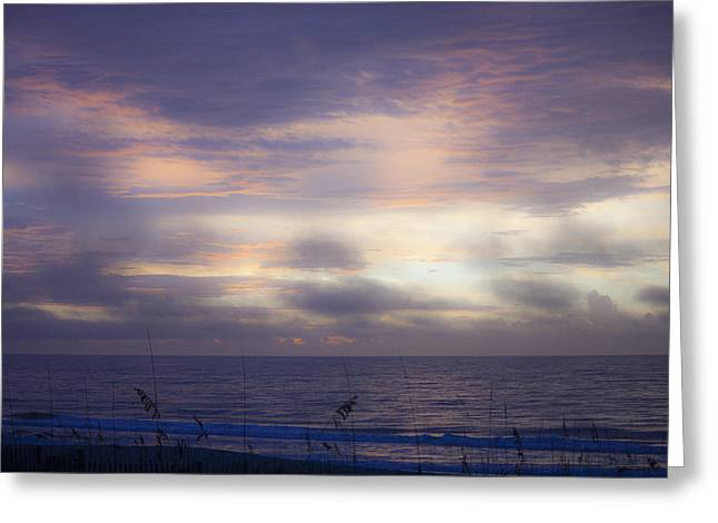 Firmament Greeting Cards - Dreamy Blue Atlantic Sunrise Greeting Card by Teresa Mucha