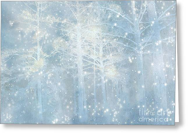 Dreamy Blue Stars Winter Snow Woodlands Nature Print- Pastel Blue Trees Nature Decor Greeting Card by Kathy Fornal