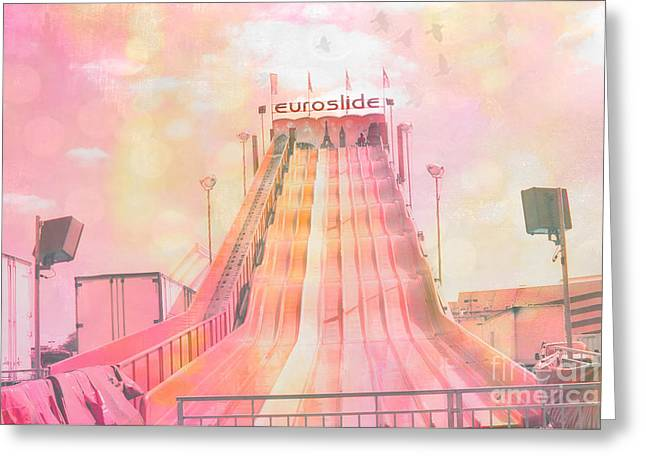 Dreamy Carnival Rides Festival Art - Euroslide Greeting Card by Kathy Fornal