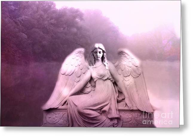 Angel Art Greeting Cards - Dreamy Ethereal Pink Fantasy Peaceful Angel In Nature Greeting Card by Kathy Fornal