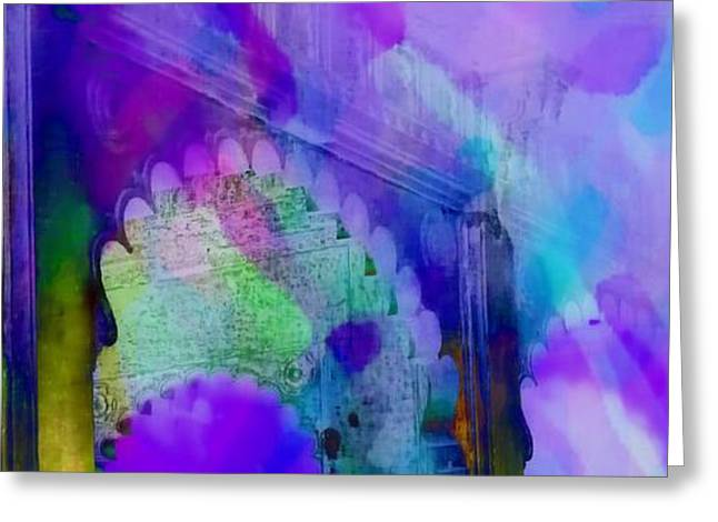 Royal Art Greeting Cards - Dreamy Exotic Travel Blue Purple Arches Udaipur Rajasthan India 1d Greeting Card by Sue Jacobi