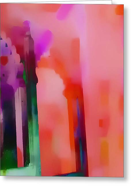 Purple Abstract Greeting Cards - Dreamy Exotic Travel Pink Red Arches Udaipur Rajasthan India 1c Greeting Card by Sue Jacobi