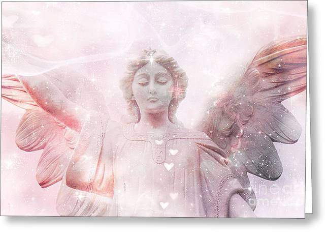 Dreamy Heavenly Angel Art - Ethereal Angel Hearts And Stars - Celestial Pink Angel Art  Greeting Card by Kathy Fornal