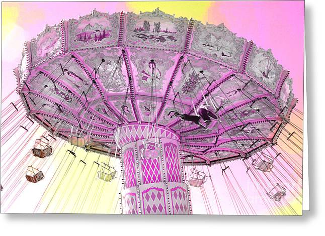 Dreamy Lavender Pink Yellow Carnival Ferris Wheel Swing Ride Greeting Card by Kathy Fornal