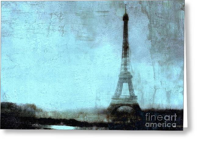 Dreamy Paris Eiffel Tower Aqua Teal Sky Blue Abstract  Greeting Card by Kathy Fornal