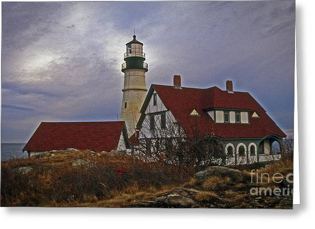 Dreamy Portland Head Lighthouse Greeting Card by Skip Willits