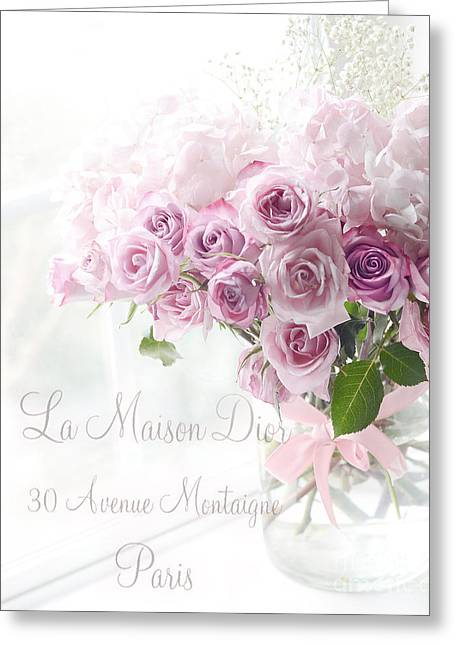 Dreamy Romantic Pink Lavender Roses In Window - Paris Romantic Roses French Decor Greeting Card by Kathy Fornal