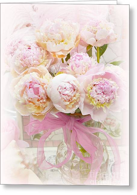 Pink Flower Prints Greeting Cards - Dreamy Romantic Pink Yellow Peonies - Shabby Chic Pastel Pink Romantic Peonies Greeting Card by Kathy Fornal