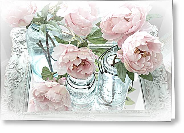 Dreamy Shabby Chic Peonies And Vintage Mason Ball Jars Romantic Cottage Floral Art Greeting Card by Kathy Fornal