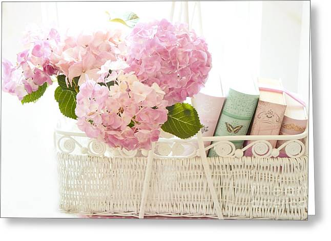 Dreamy Pink Floral Art Greeting Cards - Dreamy Shabby Chic Pink Hydrangeas In Basket - Cottage Hydrangeas and Books  Greeting Card by Kathy Fornal
