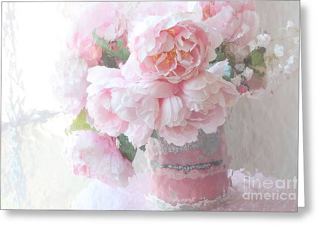 Pastel Pink Greeting Cards - Dreamy Shabby Chic Romantic Pastel Pink Peonies Impressionistic Art - Paris French Peonies Photo Greeting Card by Kathy Fornal