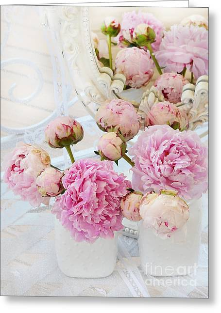 Pink Flower Prints Greeting Cards - Dreamy Shabby Chic Romantic Peonies - Garden Peonies White Mason Jars Greeting Card by Kathy Fornal