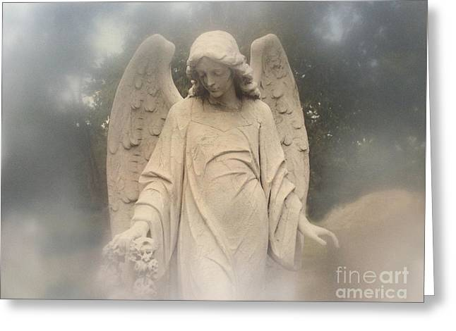 Coffin Greeting Cards - Dreamy Surreal Angel Art Fog Cemetery Greeting Card by Kathy Fornal
