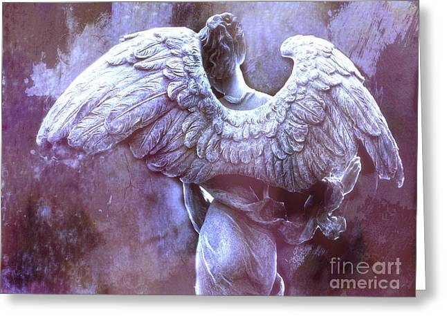 Angel Art Greeting Cards - Dreamy Surreal Ethereal Purple Angel Wings - Purple Angel Photography Wings Greeting Card by Kathy Fornal