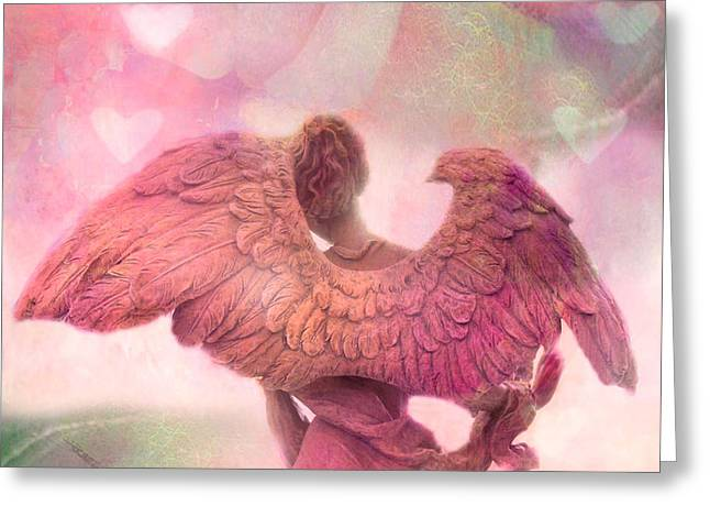 Angel Art Greeting Cards - Dreamy Whimsical Pink Angel Wings With Hearts Greeting Card by Kathy Fornal