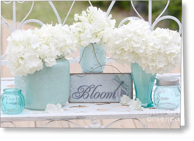 Dreamy Pink Floral Art Greeting Cards - Dreamy White Hydrangeas - Shabby Chic White Hydrangeas In Aqua Blue Teal Mason Ball Jars Greeting Card by Kathy Fornal