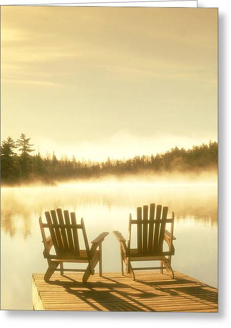 Country Cottage Greeting Cards - D.reede Chairs On Dock, Whiteshell Pp Greeting Card by First Light