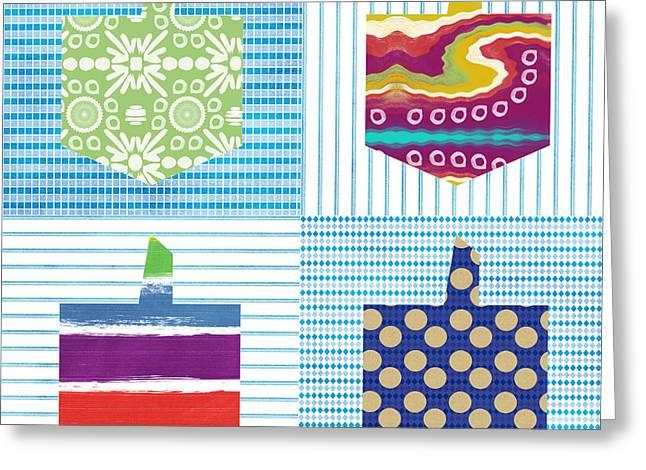 Book Cover Art Greeting Cards - Dreidel Patchwork- Art by Linda Woods Greeting Card by Linda Woods