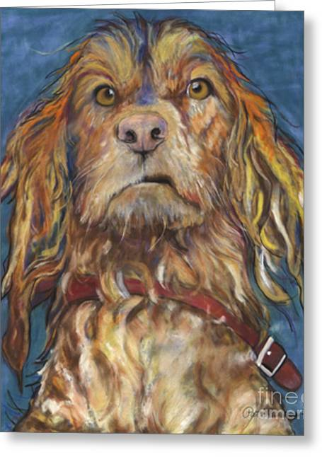 Wet Dogs Greeting Cards - Drenched  Greeting Card by Pat Saunders-White